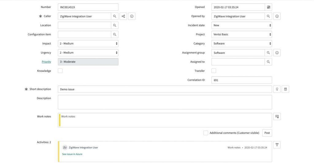 Newly created ServiceNow task with all the information of the Azure DevOps issue